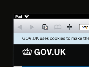 .GOV.UK site on an iPad